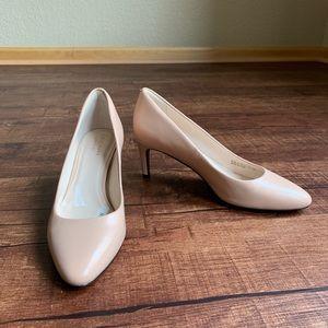Cole Haan beige leather kitten heel classic pumps